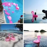 6pcs Mini Flamingo Floating Inflatable Boat Cup Holder Phone Holder Drink Holder Support Swimming Pool Toys for Adults Kids