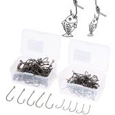 Size 1# / 6# 100pcs High Carbon Steel Fishing Hooks with Barb and Tiny Hole