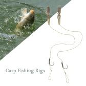 2PCS迷彩編組鯉釣りリグBarded釣りベイトフック釣り針釣り釣りアクセサリー2#/ 4#/ 6#/ 8#タックル