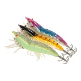 ​3pcs 12cm/21g Noctilucent Fishing Shrimp Lure Prawn Squid Bait Hard Artificial Fishing Set with Squid Jigs Hook Lead Weighted