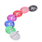 7Pcs Aluminum Alloy Metal Air Plane Pattern Travel Airlines Round Luggage Tag Baggage Handbag Suitcase Identity ID Label Identifier Tags Name Card Holder Key Ring