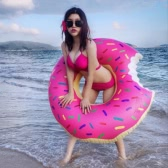 120cm 4ft Big Bite Donuts Pool Toy Inflatable Boat Lounge Fun Floating Frosted Donuts Raft Floats Pool Party