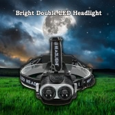 Bright Double LED Headlight Headlamp Flashlight Lamp Telescopic Focusing 90° Rotating Head for Running Reading Riding Camping
