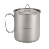 Docooler 420ミリリットルチタンカップマグカップアウトドア軽量キャンピングカップハンドルリッドストレージサック