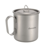 Docooler 420ml Titanium Cup Mug Outdoor Lightweight Camping Cup with Handle Lid Storage Sack