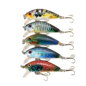 Lixada 5 PCS 5cm / 3.8g Mini Crank Bait Set Plastic Fishing Lure Swim Bait Artificial Bait Fishing Tackle Treble Hook