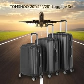 "TOMSHOO Fashion 3PCS Luggage Set Carry-on Suitcase ABS Hard Shell Trolley 20""+24""+28"" Combination Lock Universal Wheels"