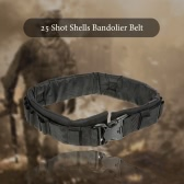1000D Nylon 25 Shot Shells Bandolier Belt Ammo Bullet Holder Adjustable Waist Belt Waist Protector Waistband Hunting Military Cartridge Belt Strap Survival Equipment