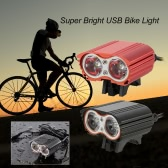 Cycling Safety 2000 Lumens Super Bright USB Bike Light Powerful Double Lights Bicycle LED Front Light Waterproof Flashlight Easy Installation
