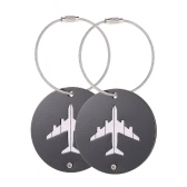 2Pcs Aluminum Alloy Metal Air Plane Pattern Travel Airlines Round Luggage Tag Baggage Handbag Suitcase Identity ID Label Identifier Tags Name Card Holder Key Ring