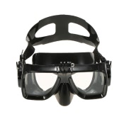 Professional Diving Silicone Mouthpiece Snorkel & Tempered Glass Mask Set with Action Camera Mount for Scuba Diving Swimming