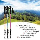 Carbon Fiber Lightweight Trekking Pole Adjustable Telescopic Hiking Walking Stick 3 Section