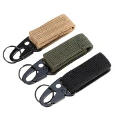 Outdoor Nylon Molle Belt Hanging Hook Buckle Carabiner w/ Key Ring