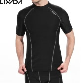 Lixada Men Short Sleeves Quick Drying Breathable Sports T-shirt Compression Shirt for Indoor & Outdoor Workout Fitness