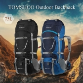 キャンプハイキング旅行登山登山用レインカバー付きTOMSHOOバックパック70 + 5Lアウトドアスポーツ防水内部フレームのバックパックバックパッキングトレッキングバッグ