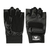 1 Pair of Anti-shock Breathable PU Leather Half-finger Gloves Sports Fitness Gloves for Chin Up Push Ups Cycling Gym Training