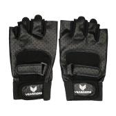 チンアップのためのアンチショック通気性PUレザーハーフフィンガーグローブスポーツフィットネス手袋の1ペアアップサイクリングジムのトレーニングをプッシュ