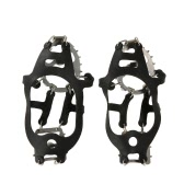 One Pair 18 Teeth Crampons Non-slip Shoes Cover Stainless Steel Crampon Traction Device Outdoor Ski Ice Snow Hiking Climbing