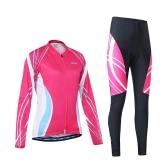 スポーツライディングArsuxeo女性の屋外通気性の快適な長袖サイクリング服セットサイクリングジャケットパッド入りパンツ