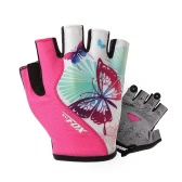 BATFOX Women's Summer Half Finger Gloves Sports Breathable Cycling Gloves Shock Absorbent Wear-resistant