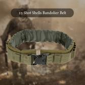 1000D Nylon 25 Shot Shells Bandolier Belt Ammo Bullet Holder Adjustable Waist Belt Waist Protector Waistband Hunting Military Cartridge Belt Strap Survival Equipment