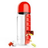 ポータブル600ミリリットルスポーツプラスチック創造的な水のボトルは、毎日のピルボックスを組み合わせて主催者飲み物ボトルリークプルーフタンブラーカップアウトドア
