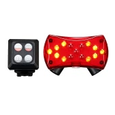 Bicycle Turn Signals Rechargeable Bike Cycling Taillight Rear Light Backlight Flashlight with Direction Indicators & 2 Red Beams Wireless Remote Control