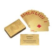 ピュア24Kカラットゴールド箔メッキポーカーはカード52カードおよび2ジョーカーテーブルゲームギフト楽しみを再生する認定