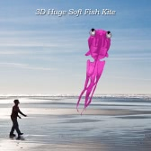 ​300*150cm Single Line 3D Huge Fish Kite Frameless Soft Kite Giant Flyer Kite Lifter Kids Adults
