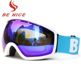 Skiing Snowboarding Skating Goggles UV Protection Anti-fog Wide Spherical PC Lens Anti-slip Strap Helmet Compatible
