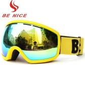 Skiing Snowboarding Skating Goggles UV Protection Anti-fog Wide Spherical PC Lens Anti-slip Strap Helmet Compatible