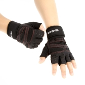 Sports Fitness Exercise Training Gym Half Finger Gloves Wrist Wrap Multifunction for Men & Women Sweat Absorption Friction Resistance