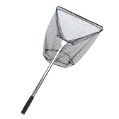 3 Sections Triangle Brail Telescopic Folding Fishing Net Stainless Steel Handle Nylon Landing Net