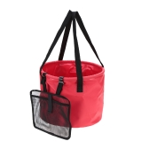 20L Folding Car Water Wash Bucket Outdoor Portable Fishing Bucket Collapsible Retractable Fishing Tackle with Hanging Mesh Bag Camping Picnic