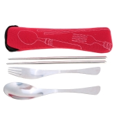 Outdoor Picnic Tableware Fork Spoon Chopsticks Set with Bag