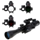 3-9X40EG Red Green Illuminated Tactical Riflescope + Red Laser Sight + Holographic Dot Sight