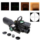 2.5-10X40 Illuminated Tactical Riflescope with Red Laser + Detachable Reflex Lens Red Green Dot Sight Scope