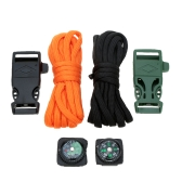 2Pcs 10FT Paracord 7 Strand Parachute Cord with Flint Stone Whistle Buckle Mini Compass