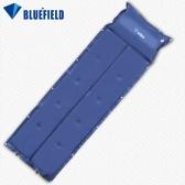 ブルーフィールドアウトドアキャンプ用の厚い自動インフレータブルマットレス 自己膨張防湿テントマ  ット  折りたたみ式マット 枕付き ダークブルー
