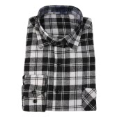 Button Plaid Shirt Long Sleeve Flannel Plaid Casual Shirt for Men