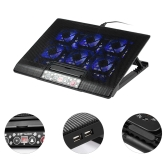 NUOXI USB Laptop Cooler Notebook Cooler 6 Cooling Fans Height Adjusting Blue LED for 12-17 inch Laptop