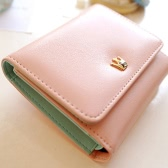 Korean Cute Women Girl Purse Crown Wallet PU Leather Clutch Bag Pink