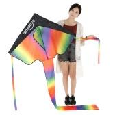Ametoys 206cm*110cm Large Size Huge Rainbow Kite with 50m Line Delta Kite