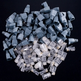 50 Set Of RJ45 Connectors Modular Plugs + Boots/Caps