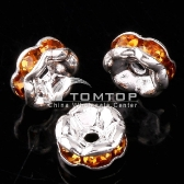 6MM TOPAZ CRYSTAL SPACER BEADS FINDINGS 10pcs jlm75