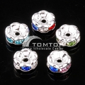 10pcs MULTICOLOR CRYSTAL SPACER BEADS FINDINGS jlm77