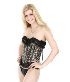 Wild Sexy Lingerie Leopard-print Lace Up Corset Bustier + G-string