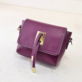 Fashion Women Crossbody Bag Flap Top Metal Block Straps Zipper Small Shoulder Bag