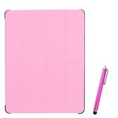 Magnetic Slim PU Leather Smart Cover Stand Case for iPad 2 3 4 Wake & Sleep Ultrathin Multiple Shapes Gift Stylus Pen Pink