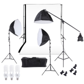 Photography Studio Lighting Softbox Photo Light Muslin Backdrop Stand Kit with Three 60cm Octagon Softbox Cantilever Light Stand Bulbs White Black Backdrop Carrying Bag